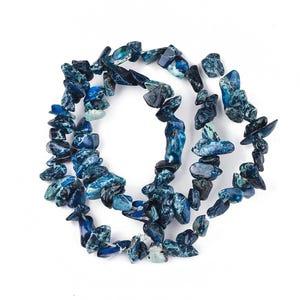 Dark Blue Impression Jasper Grade A Chip Beads Approx 8-12mm Strand Of 100+ Pieces Y17855