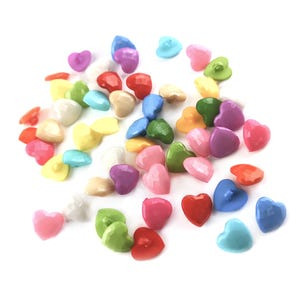 Mixed-Colour Acrylic 14mm Shank Faceted Heart Buttons Pack Of 50+ Y17875