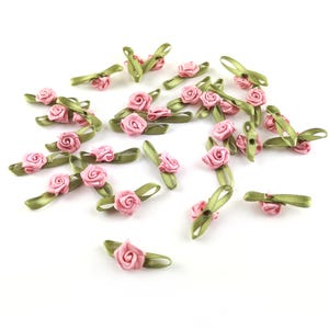 Pale Pink Rose Bud Satin Embellishments 28mm x 9mm Pack Of 30 Y17885