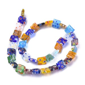 Mixed-Colour Millefiori Glass Square Beads 9.5mm Strand Of 35+ Pieces Y17895