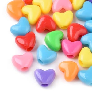 Mixed-Colour Acrylic Puffy Heart Beads 11.5mm x 9.5mm Pack Of 100+ Y17920