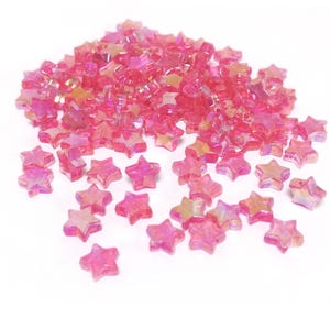 Bright Pink AB Acrylic Star Beads 10mm Pack Of 100+ Y17930