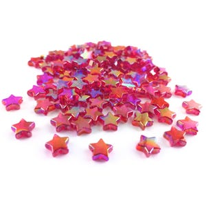 Red AB Acrylic Star Beads 11mm Pack Of 100+ Y17960