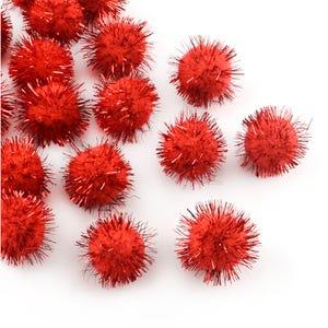 Red Glitter Tinsel & Yarn Pom Poms 15mm Pack Of 200+ Y17970