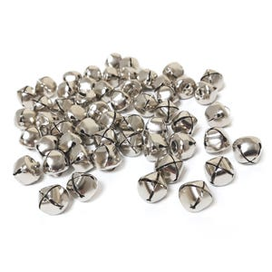 Silver Iron Christmas Jingle Bell Charms 12.5mm Pack Of 50+ Y17995