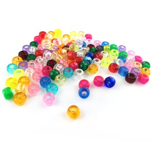 Mixed-Colour Acrylic Pony Large Hole Beads 6mm x 9mm Pack Of 100+ Y18015