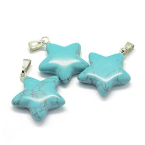 Synthetic Turquoise Star Pendants 19.5mm x 22mm Pack Of 3 Y18030