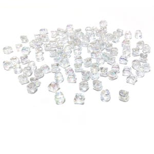 Clear AB Acrylic Concave Cube Beads 7.5mm x 10mm Pack Of 100+ Y18035