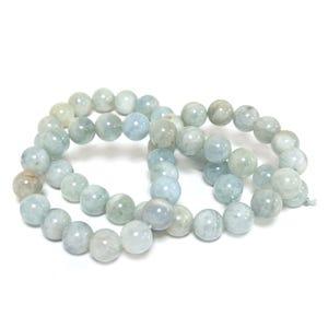 Blue Aquamarine Grade A Plain Round Beads 8mm Strand Of 45+ Pieces Y18040