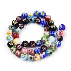 Mixed-Colour Millefiori Glass Plain Round Beads 8mm Strand Of 45+ Pieces Y18060