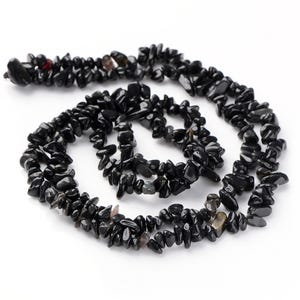 Black Obsidian Grade A Chip Beads Approx 5-15mm Long Strand Of 220+ Pieces Y18070