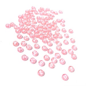 Pale Pink Alphabet Acrylic Coin Beads 7mm Pack Of 100+ Y18075