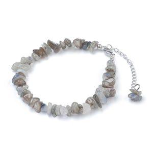 Grey Labradorite 8 Inch Chip Anklet Bracelet  Y18090