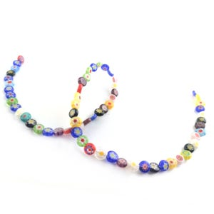 Mixed-Colour Millefiori Glass Flat Coin Beads 6mm Strand Of 60+ Pieces Y18105