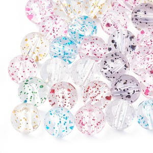 Clear/Mixed-Colour Glitter Acrylic Plain Round Beads 10mm Pack Of 50+ Y18115