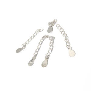 925 Sterling Silver 33mm Curb Chain Extender Chains With Drop Pack Of 5 Y18120