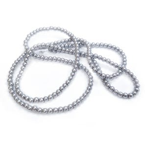 Silver Pearlised Glass Plain Round Beads 3mm-4mm Long Strand Of 200+ Pieces Y18165