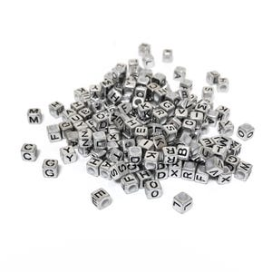 Silver/Black Alphabet Acrylic Pony Cube Beads 6mm Pack Of 150+ Y18175