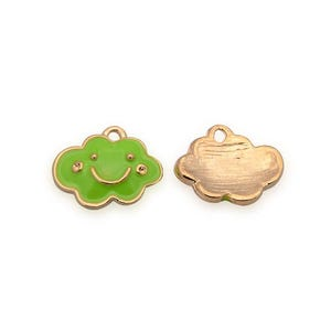 Rose Gold/Lime Green Enamel & Alloy Cloud Charms 11mm x 14mm Pack Of 2 YF0450