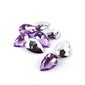 Lilac Smooth Acrylic 20mm x 30mm Calibrated Faceted Drop Cabochons Pack Of 8 YF2000