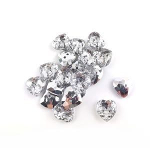 Silver Acrylic 12.5mm 2-Hole Faceted Heart Buttons Pack Of 20 YF2015