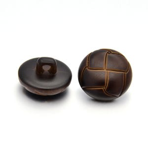 Dark Brown Acrylic 18mm Shank Dome Buttons Pack Of 5 YF2035
