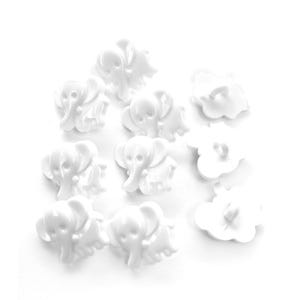 White Acrylic 16mm Shank Elephant Buttons Pack Of 10 YF2045