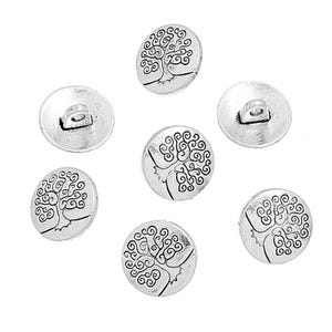 Antique Silver Metal Alloy 14mm Shank Round Tree Of Life Buttons Pack Of 5 YF2060