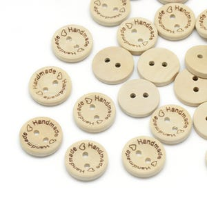 """Pale Beige Wood 15mm 2-Hole Round """"Handmade"""" Buttons Pack Of 30 YF2065"""