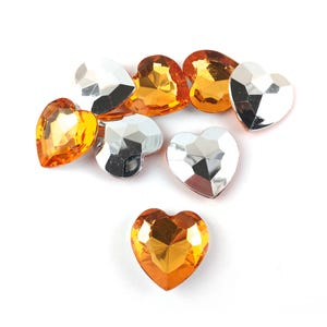 Orange Smooth Acrylic 27mm x 27mm Calibrated Faceted Heart Cabochons Pack Of 8 YF2095