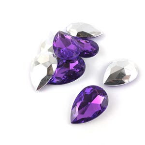 Purple Smooth Acrylic 20mm x 30mm Calibrated Faceted Drop Cabochons Pack Of 8 YF2100