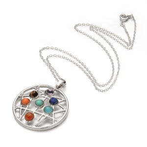 "Silver Platinum Plated & Chakras Circle 18"" Pendant Chain Necklace  YF2115"