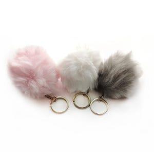 Pink/Grey Faux Fur 7cm Pom Pom Keyrings Pack Of 3 YF2120