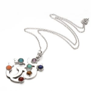 """Silver Platinum Plated & Chakras Om 18"""" Pendant Chain Necklace  YF2130"""