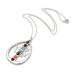 """Silver Platinum Plated & Chakras Tree of Life 18"""" Pendant Chain Necklace  YF2140"""