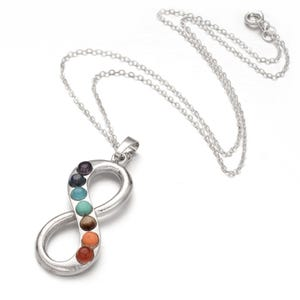 """Silver Platinum Plated & Chakras Infinity 18"""" Pendant Chain Necklace  YF2145"""