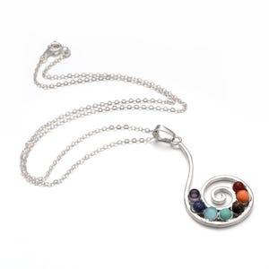 "Silver Platinum Plated & Chakras Swirl 18"" Pendant Chain Necklace  YF2150"