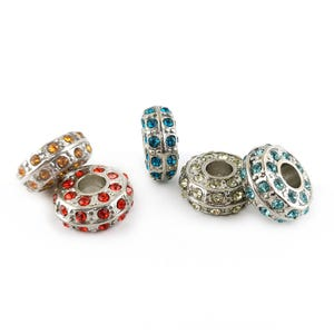 Silver/Mixed-Colour Rhinestone Metal Alloy Rondelle Spacer Beads 6.5mm x 14mm Pack Of 5 YF2180