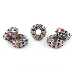 Silver/Mixed-Colour Rhinestone Metal Alloy Rondelle Spacer Beads 6.5mm x 14mm Pack Of 5 YF2190