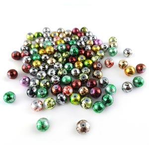 Silver/Green Metallic Drawbench Acrylic Plain Round Beads 8mm Pack Of 100+ YF2200