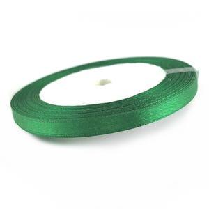 Green Satin Ribbon 20M Spool 7mm Wide YF2215