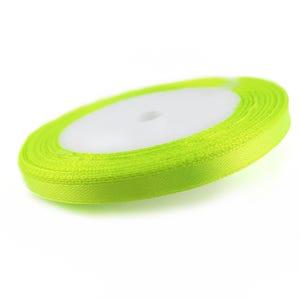 Neon Yellow Satin Ribbon 20M Spool 7mm Wide YF2220