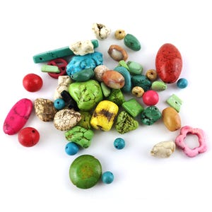 Mixed-Colour Dyed Magnesite Mixed Shape Beads 6mm-30mm Pack Of 100g YF2235