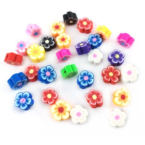 Mixed-Colour Polymer Clay Flower Beads 8.5mm x 4.5mm Pack Of 30 YF2245