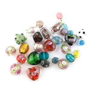 Mixed-Colour Foil Glass Mixed Shape Beads 7mm-20mm Pack Of 50g YF2285