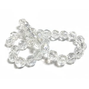 Clear AB Acrylic Faceted Round Beads 10mm Strand Of 30+ Pieces YF2300