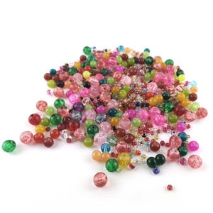 Pink/Mixed-Colour Acrylic & Glass Plain Round & Seed Beads 2mm-8mm Pack Of 100g YF2350