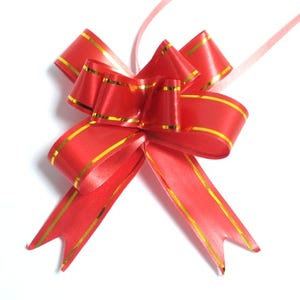 Red/Gold Polyester Flower Drawstring Pull Bows 70mm Pack Of 10 YH1155