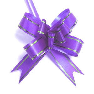 Purple/Gold Polyester Flower Drawstring Pull Bows 70mm Pack Of 10 YH1165