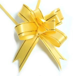 Yellow/Gold Polyester Flower Drawstring Pull Bows 70mm Pack Of 10 YH1170